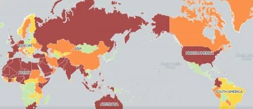 Карта террористической угрозы миру-2017